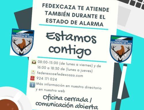 FEDEXCAZA suspende la atención presencial en sus oficinas durante el Estado de Alarma