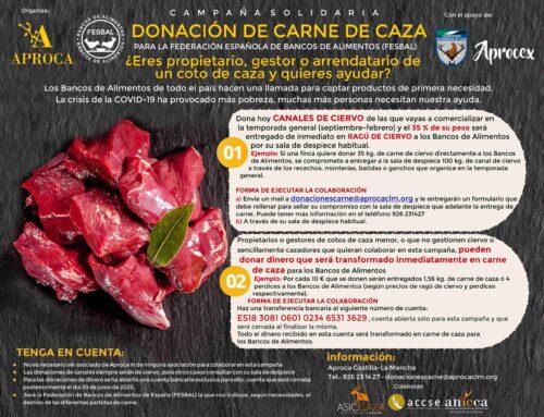 FEDEXCAZA y APROCEX se suman a la campaña de APROCA para donar carne de caza a los Bancos de Alimentos