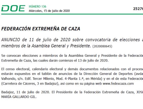 El DOE publica la convocatoria electoral de la Federación Extremeña de Caza