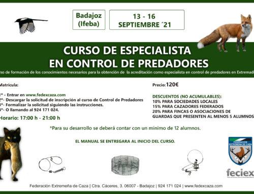 FEDEXCAZA impartirá un nuevo curso de especialista en control de predadores en septiembre en FECIEX