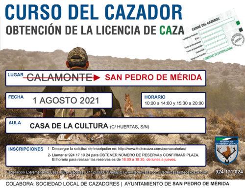 El Curso de Cazador pasa de celebrarse en Calamonte a San Pedro de Mérida debido al Covid